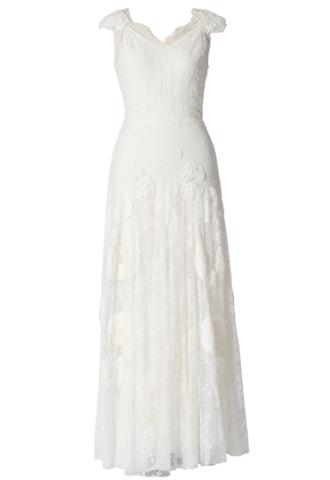 アイボリーのノースリーブタイプのウエディングドレス。全体にレースとモスリン素材の立体的なフラワーモチーフが施された、花嫁様の2次会にもおすすめのフェミニンデザインのロングドレスです。
