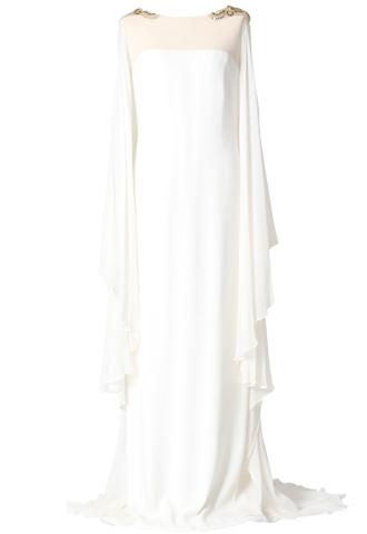ホワイトのシルクシフォンを使用したスレンダードレス