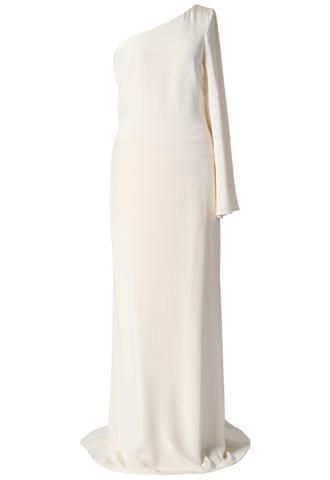 シルククレープ素材のワンショルダーのタイトでシンプルなロングドレス。袖がある方が長袖です。