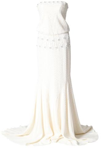[Nicole Miller]<br>ビジュー刺繍 ロングドレス(36)-アイボリー