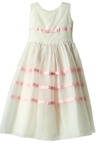 [Joan Calabrese]<br>チュールリボン 子供ドレス(105㎝)-ホワイト/ピンク