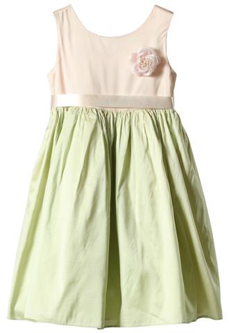 [Dimples Apparel]<br>バイカラー 子供ドレス(100cm)-グリーン/ピンク