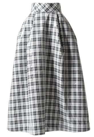 [Khoon Hooi]<br>スパンコール タックロングスカート-ブラック/ホワイト