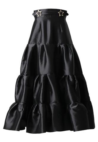 [Khoon Hooi]<br>ボリューム ティア―ドロングスカート(38)ロング-ブラック