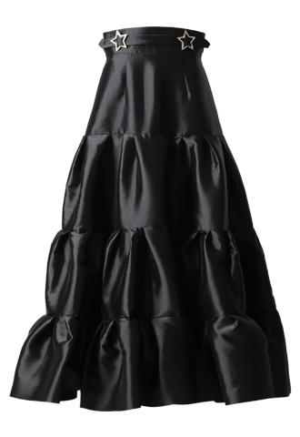 [Khoon Hooi]<br>ボリューム ティア―ドロングスカート(40)ロング-ブラック