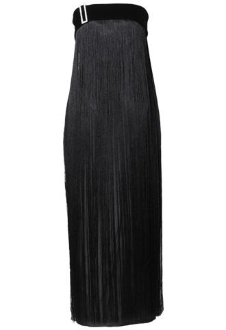 [Khoon Hooi]<br> ベルベットフリンジ ロングドレス(38)-ブラック