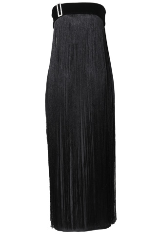 [Khoon Hooi]<br> ベルベットフリンジ ロングドレス(40)-ブラック