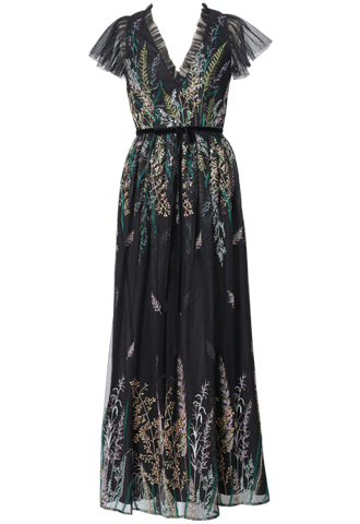 [ML Monique Lhuillier]<br>Vネックライン 刺繍ロングドレス(36)-ブラック