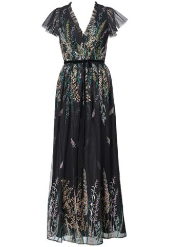 [ML Monique Lhuillier]<br>Vネックライン 刺繍ロングドレス(38)-ブラック