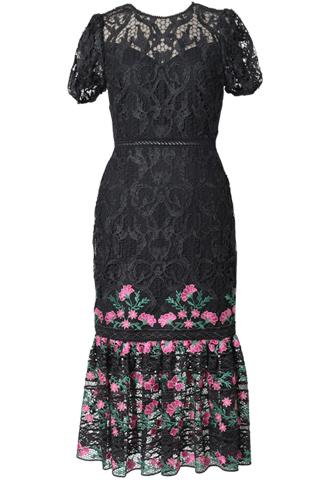 [ML Monique Lhuillier]<br>パフスリーブ刺繍 レースドレス(38)-ブラック/ピンク