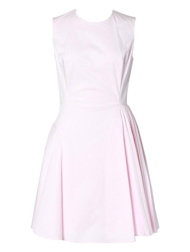クリスチャン・ディオール(Christian Dior)のピンクのノースリーブのフィット&フレア アシンメトリードレス