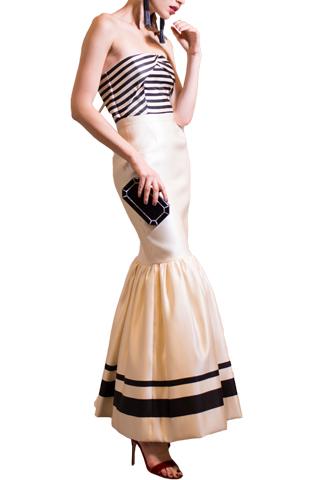 [Katie Ermilio]<br>シルクサテン ロングドレス-ホワイト/ブラック