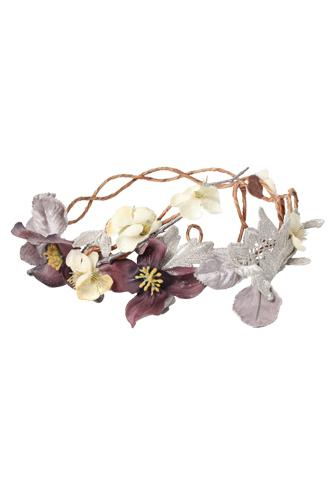 パープルとアイボリーのお花が咲く、ナチュラルでフェミニンなリース型のヘッドアクセサリー