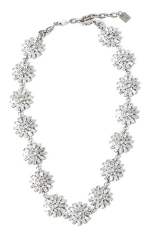 [Dannijo]<br>Flower Jeweled Necklace-Silver