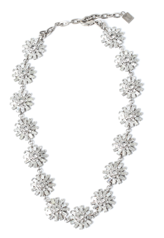 [Dannijo]<br>Flower Jeweled Necklace-Silver