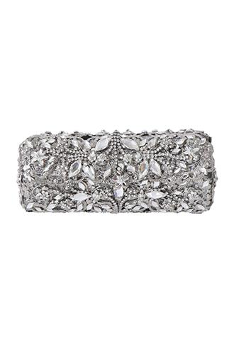 [Maria Elena]<br>Silver Stoned Clutch Bag-Silver