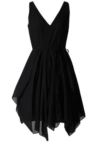 [Morgane Le Fay]<br>Frill V-Neck Dress-Black