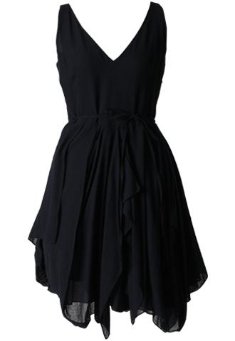 [Morgane Le Fay]<br>Frill V-Neck Dress-Navy