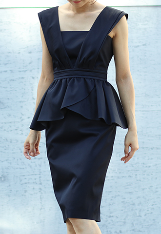 【HAUTE Original】PEPLUM PENCIL SKIRT DRESS - Navy