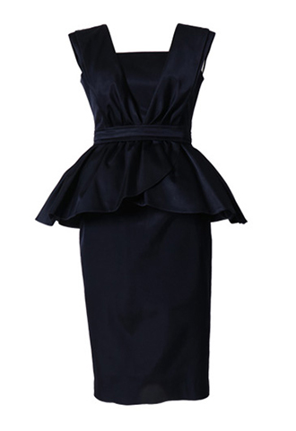 [HAUTE Original]<br>Peplum Pencil Skirt Dress-Navy