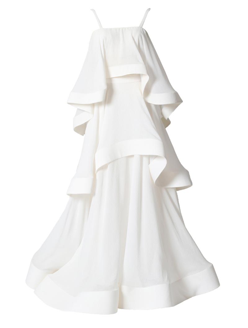 ホワイトのセパレートドレス。とろみのあるクリンクルシフォンの裾にホースヘアを貼ることで軽やかにフリルが弾むホワイトのキャミソールタイプです。