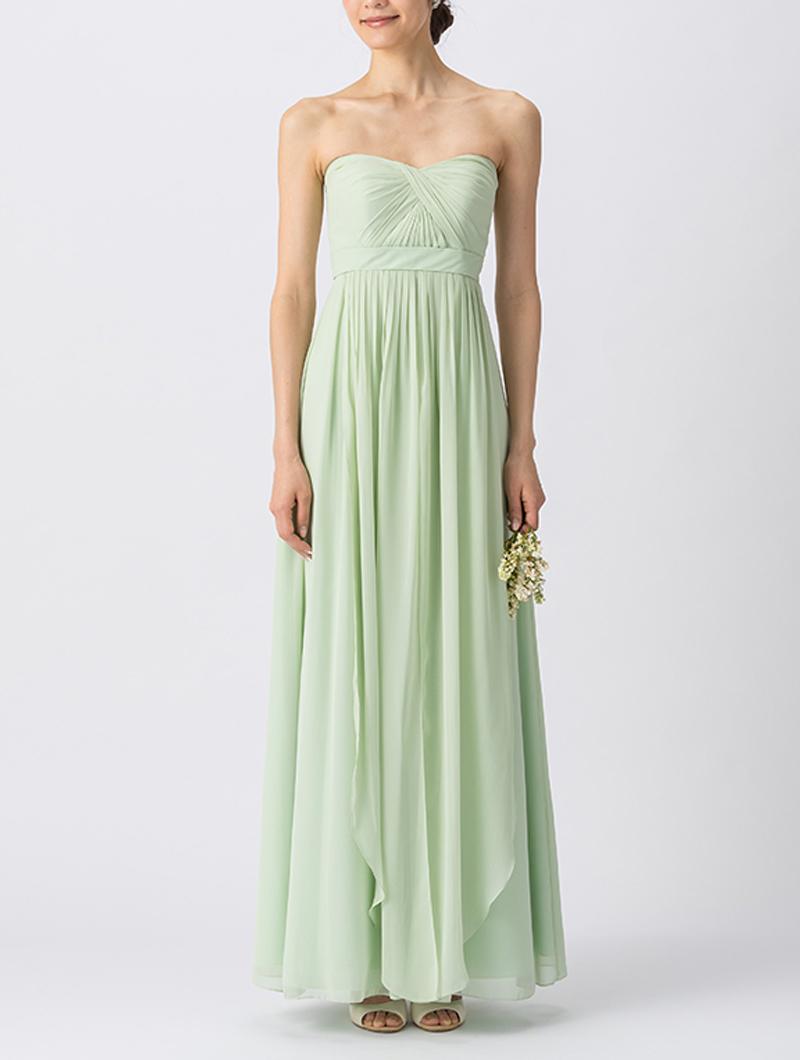 淡いグリーンで、ベアタイプのロング丈ブライズメイドドレス