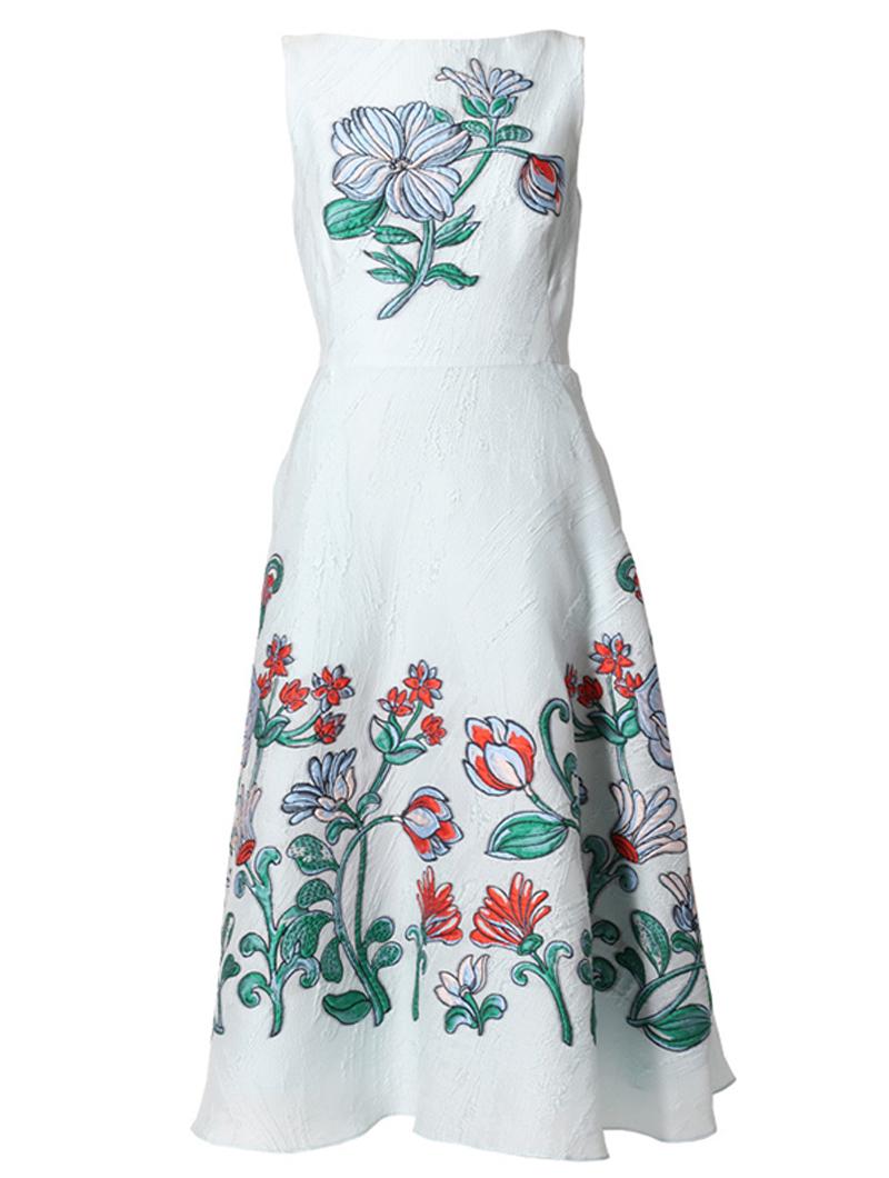 [Lela Rose]<br>刺繍フィットアンドフレア ドレス-ブルー