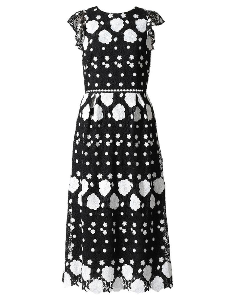 [ML Monique Lhuillier]<br>フローラルレース ドレス(40)-ブラック/ホワイト