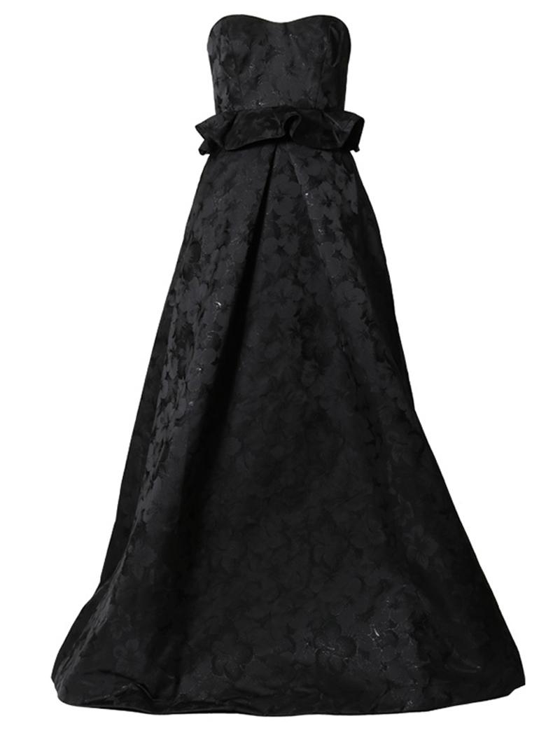 [ML Monique Lhuillier]<br>ストラップレス ロングドレス(38)-ブラック