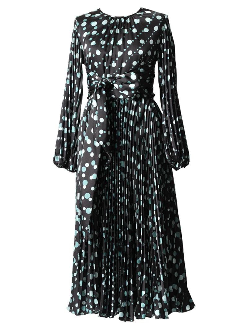 [ML Monique Lhuillier]<br>ドット柄プリーツスカート ドレス(38)-ブラック/グリーン