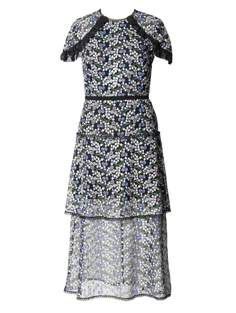[ML Monique Lhuillier]<br>半袖刺繍レース ドレス(36)-ブルー/ブラック