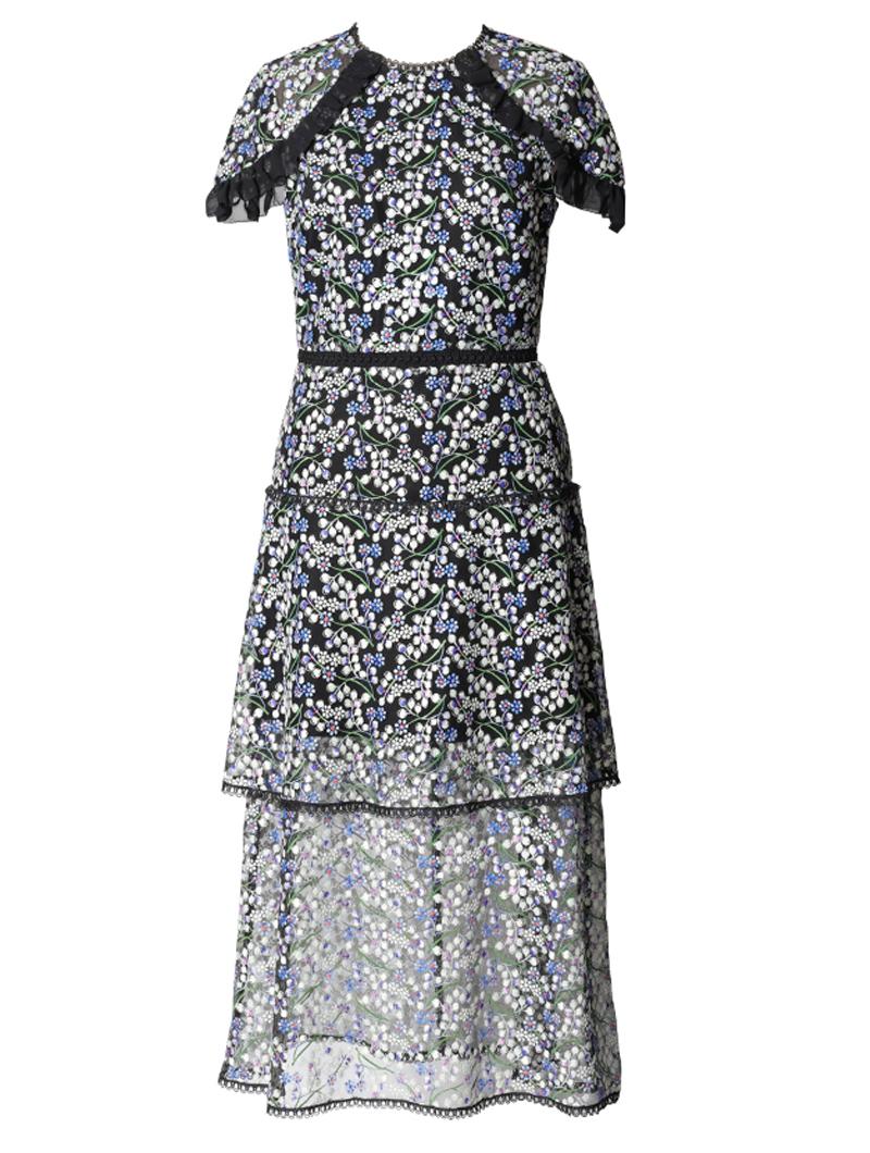 [ML Monique Lhuillier]<br>半袖刺繍レース ドレス(38)-ブルー/ブラック
