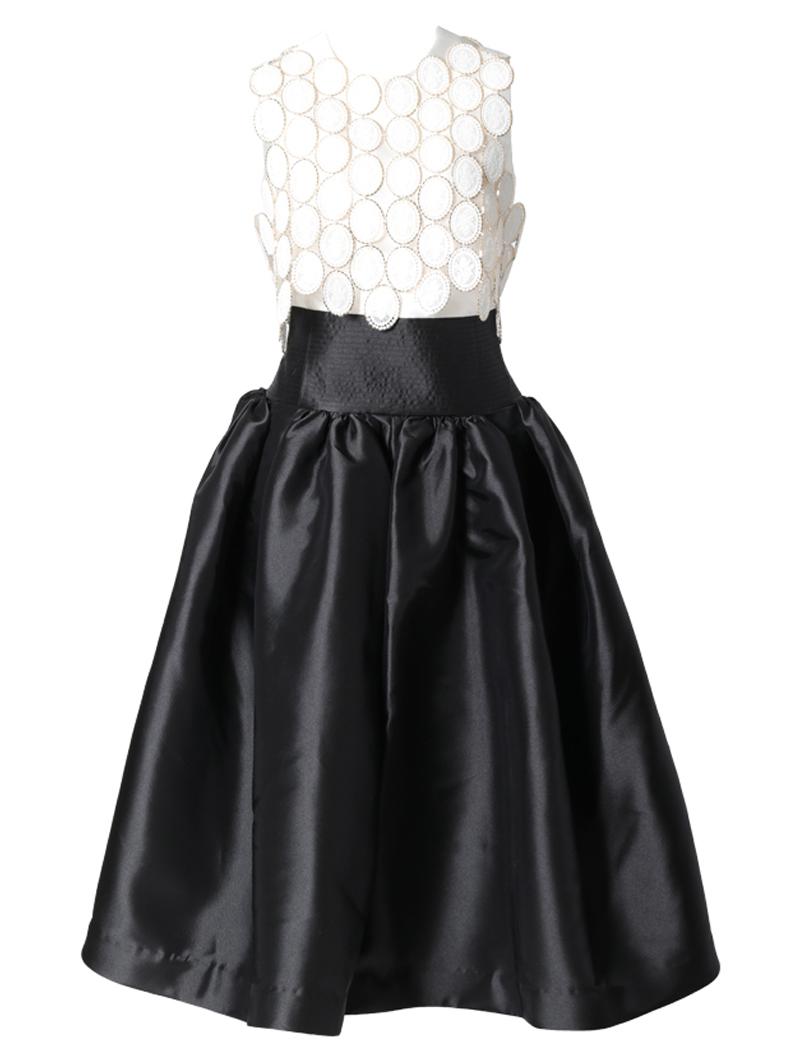[Khoon Hooi]<br>フィットアンドフレア ドレス-ブラック/ホワイト
