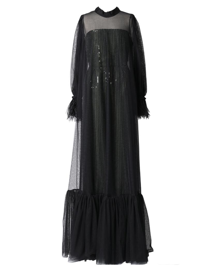 [Khoon Hooi]<br>チュール ロングドレス-ブラック/グリーン