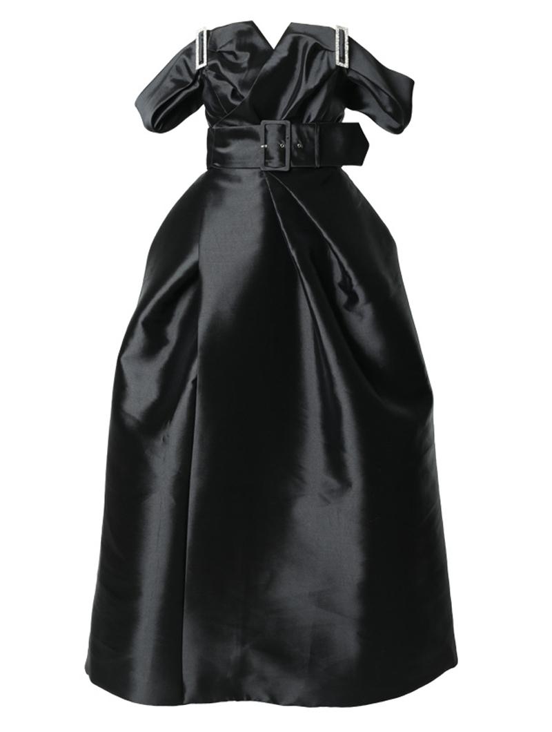 [Khoon Hooi]<br>オフショルダー ロングドレス-ブラック