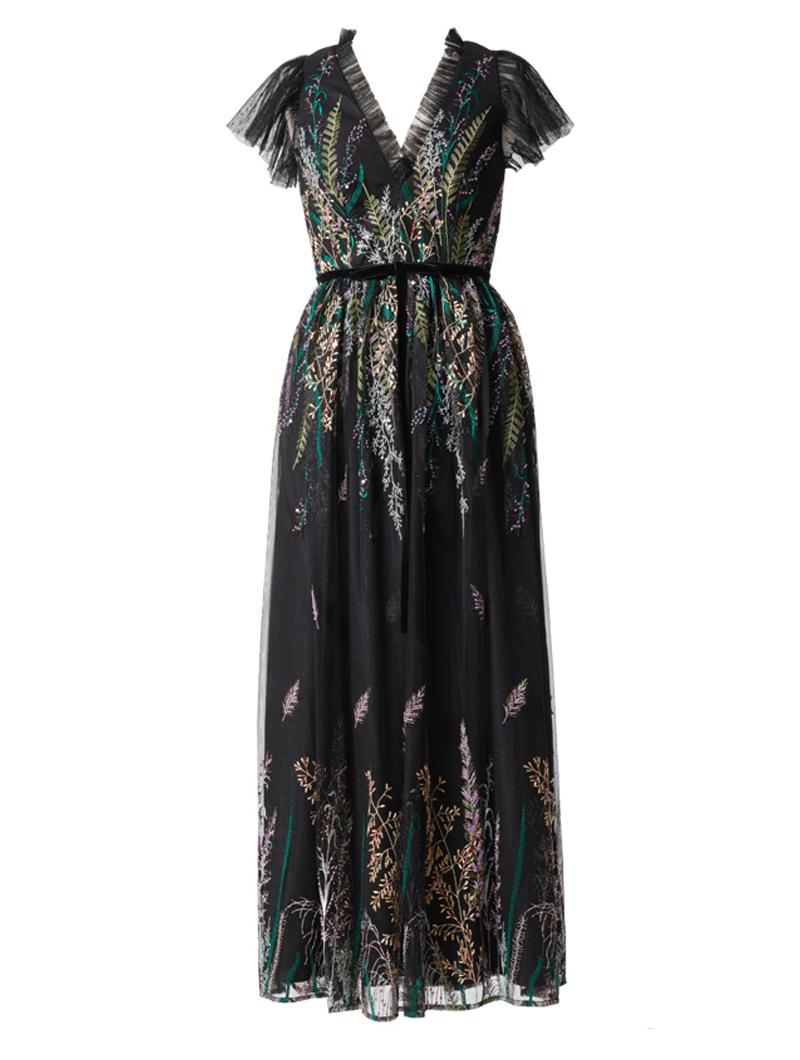 [ML Monique Lhuillier]<br>Vネックライン 刺繍ロングドレス/ぺティート(36)-ブラック