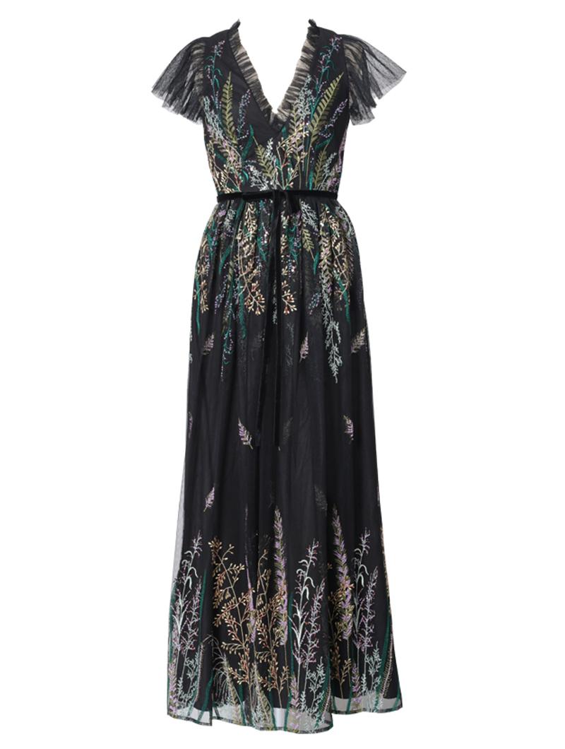 [ML Monique Lhuillier]<br>Vネックライン 刺繍ロングドレス(42)-ブラック