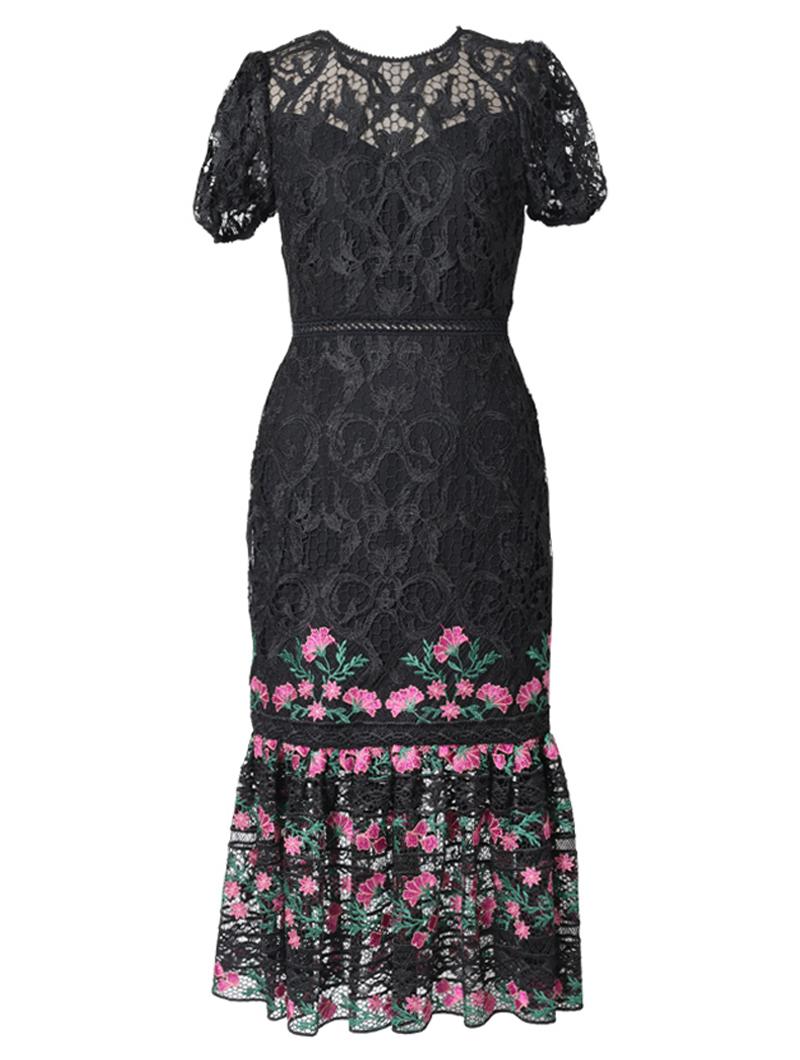 [ML Monique Lhuillier]<br>パフスリーブ刺繍 レースドレス(40)-ブラック/ピンク