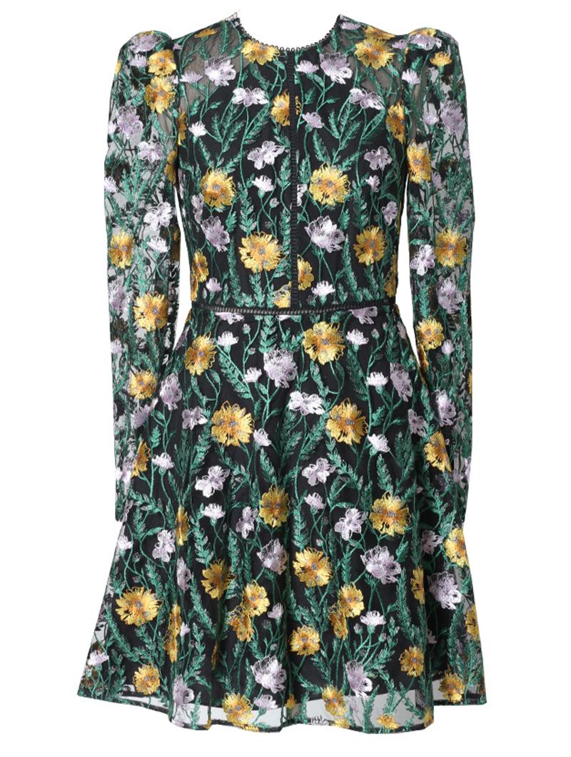 [ML Monique Lhuillier]<br>長袖刺繍 ドレス(38)-ブラック/イエロー