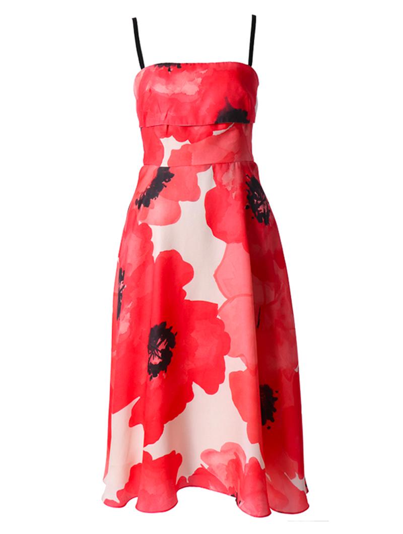 真っ赤なキャミソールタイプのフィット&フレアワンピース。肩紐はブラック、全体には鮮やかなレッドのおおぶりな花柄プリントが施されているキャミソールタイプのドレスとなります。