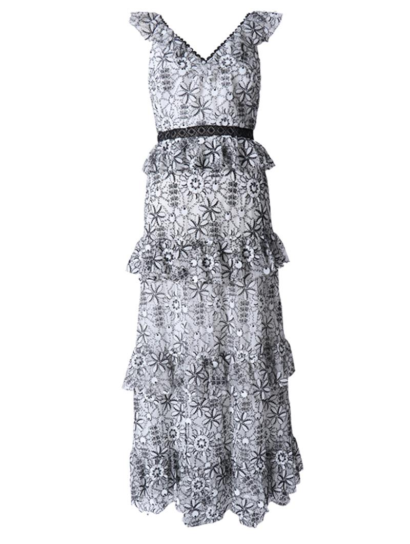 [ML Monique Lhuillier]<br>刺繍フリル ロングドレス(36)-ブラック/ホワイト
