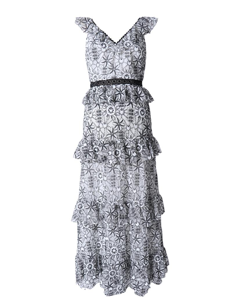 [ML Monique Lhuillier]<br>刺繍フリル ロングドレス(38)-ブラック/ホワイト