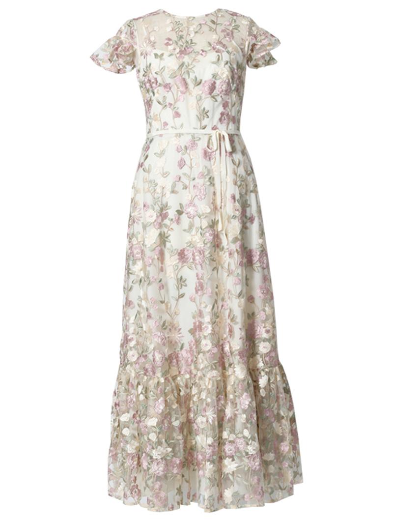 [ML Monique Lhuillier]<br>半袖フローラルレース ドレス(38)-ホワイト/ベージュ