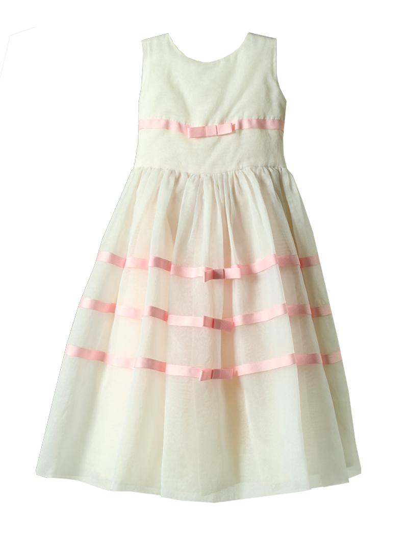 [Joan Calabrese]<br>チュールリボン 子供ドレス(105cm)-ホワイト/ピンク