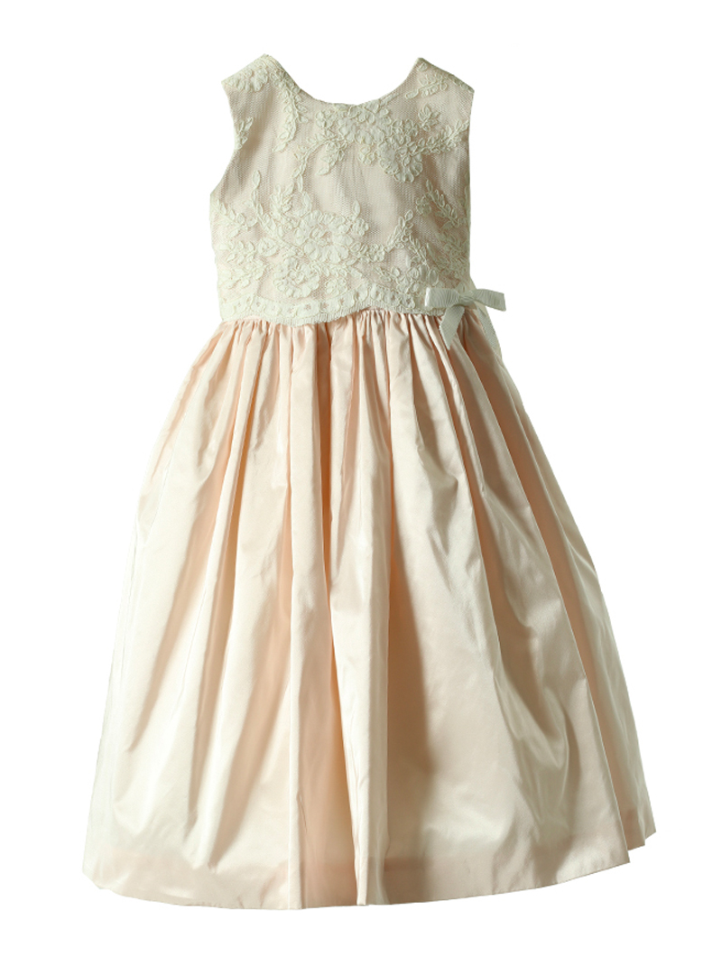[Joan Calabrese]<br>レース 子供ドレス(100cm)-ホワイト/ピンク