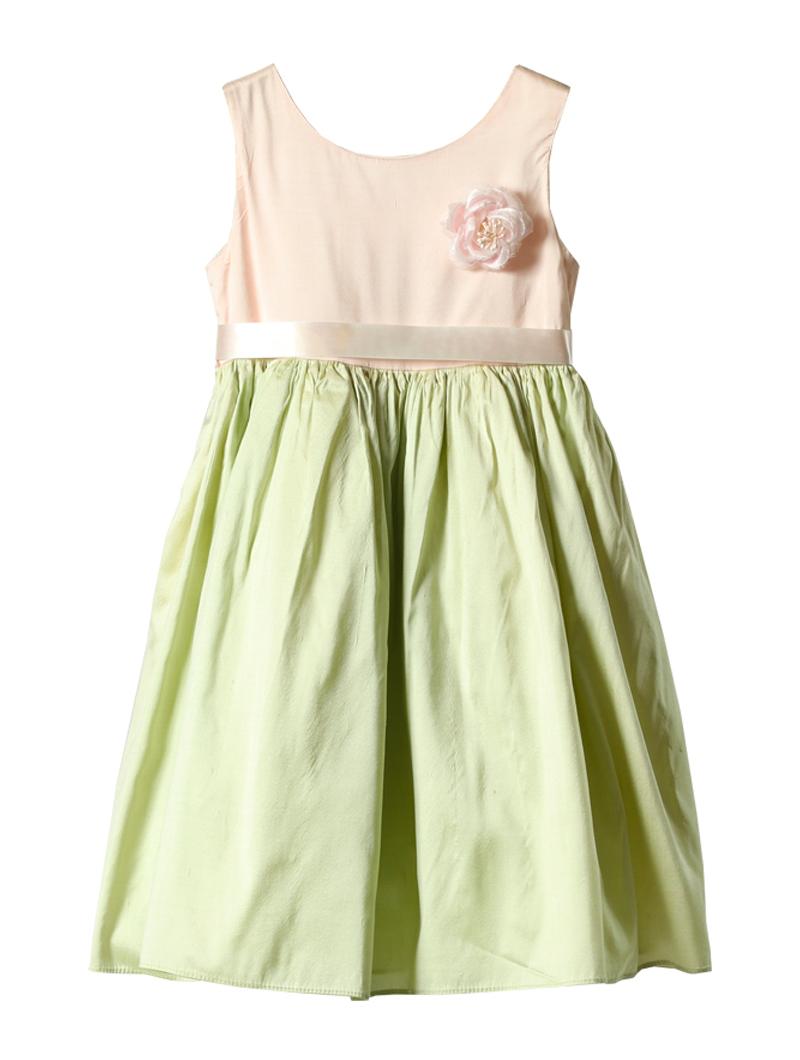 [Dimples Apparel]<br>バイカラー こどもドレス(100cm)-グリーン/ピンク