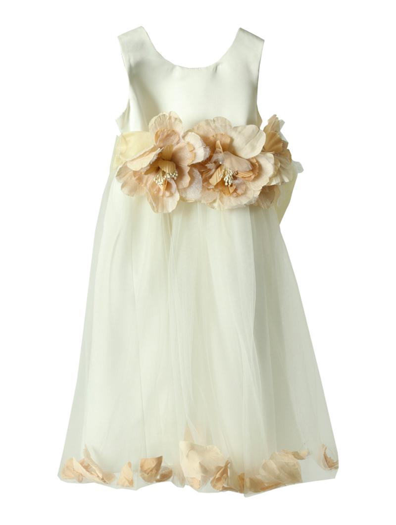 [Us Angels]<br>お花チュール こどもドレス(100cm)-ホワイト/ピンク