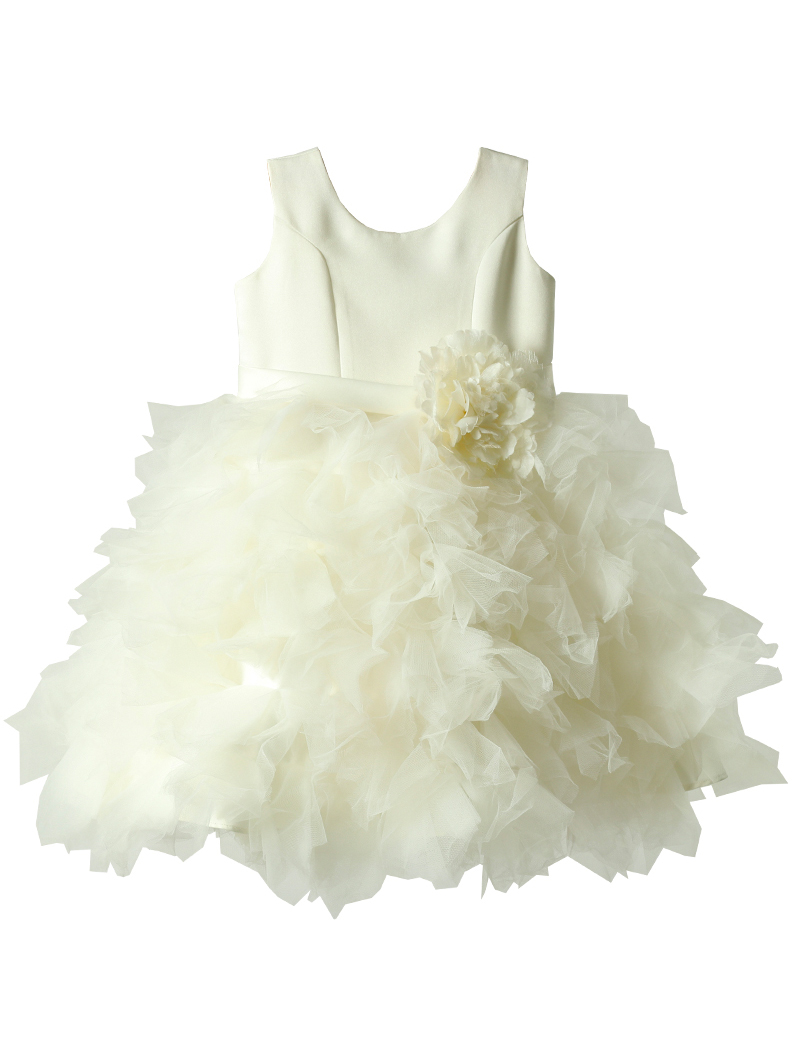 [Us Angels]<br>ボリュームチュール こどもドレス(105cm)-ホワイト