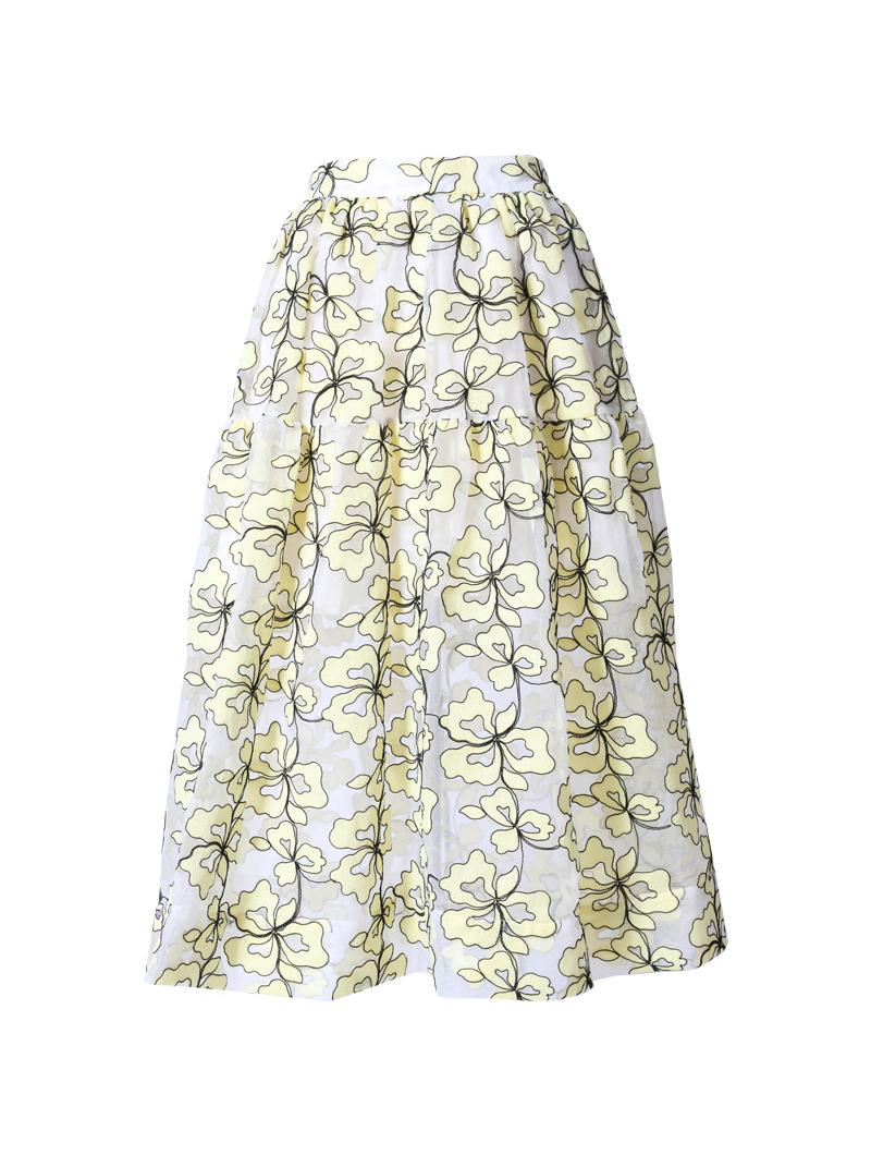 [Maje]<br>刺繍 スカート-イエロー