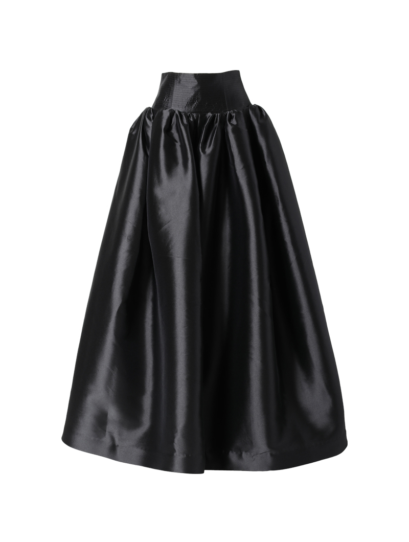 [Khoon Hooi]<br>ハイウエスト ロングスカート-ブラック